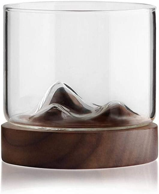 Whiskey Glass Mountain Fuji Style Wine Glass Teacups with Wooden Bottom - Infusing Coffee