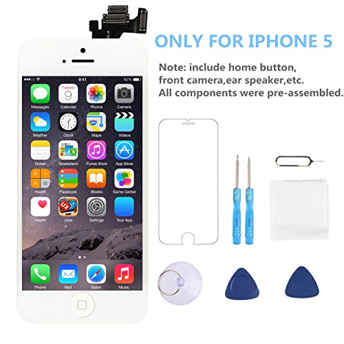 Screen Replacement for iPhone 5 P-zone LCD Touch Display Digitizer White Include Home Button Full Pre-assembly Kit with Repair Tools  and Screen Protector