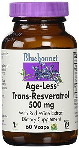 BlueBonnet Age-Less Trans-Resvertrol Vegetarian Capsules, 500 mg, 60 Count
