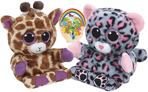 Ty Beanie Peek-a-Boos TRIXI Leopard and JESSE Giraffe Set of 2 Smartphone holders with Bonus Animals Sticker - Peek A-boo Giraffe