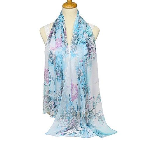 Light Blue Floral Pattern (ChikaMika Lightweight Silk Scarves for Women Girls Silk Floral Pattern Voile Scarf)