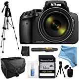 Nikon COOLPIX P900 Black with Camera Case, Full Size Tripod, 32GB High Speed Class 10 Memory Card, Memory Card Wallet, Lens Cleaning Kit