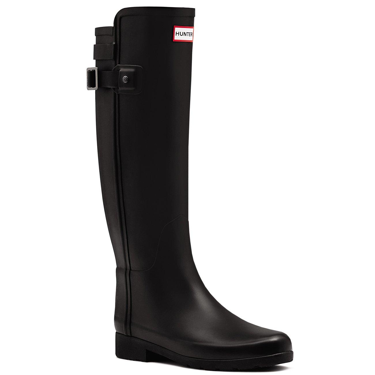 Hunter Boot Women's Original Refined Back Strap Rain Boot Black 7 M US