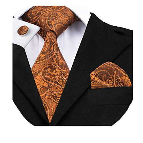(Dubulle Mens Orange Tie and Pocket Square Woven Silk Necktie Set with Cufflinks)