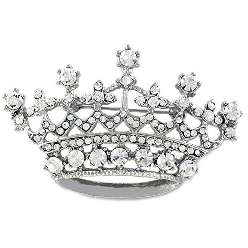 Princess Crown Tiara Brooch Pin Wedding Bridesmaid Clear Rhinestones Jewelry