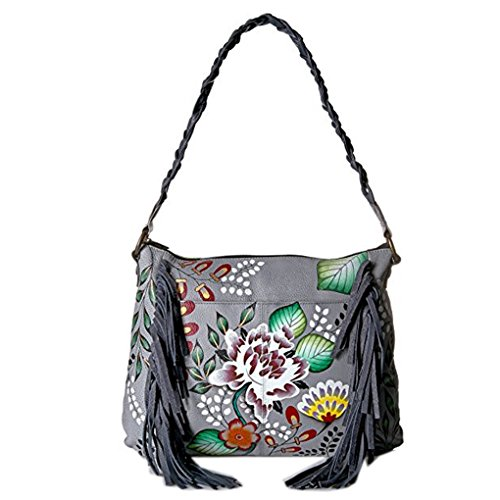 Garden Top Free on Leather Anna Painted Hobo Eaden Purse Holder Handbag of by Design Quality Real Hand Anuschka Fringed Purse qTqfAR