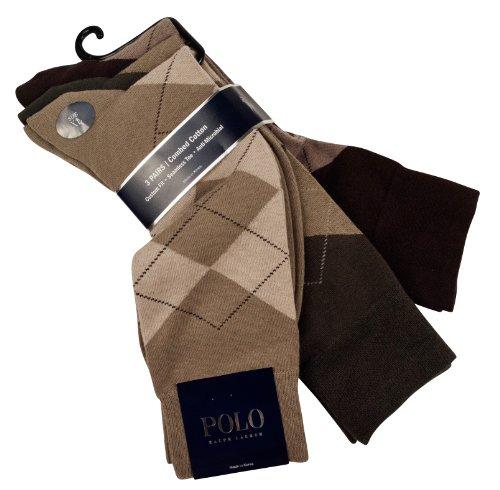 Ralph Lauren Polo 3-Pack Argyle Socks Men's Size 10-13/XL ()