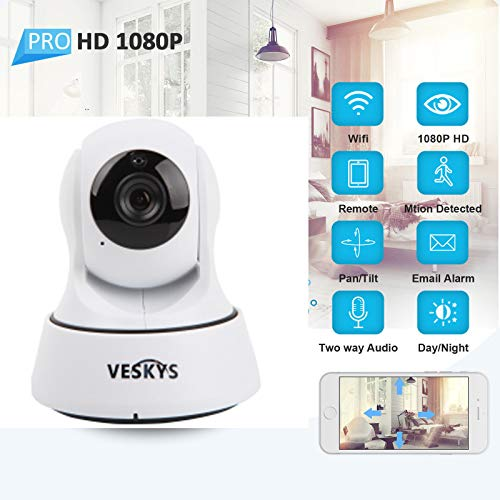 NANI 1080P Full HD WiFi Pan/Tilt IP Camera (2.0 Megapixel) Indoor Outdoor Home Wireless Security Camera FD890, Plug & Play, Two-Way Audio & Night Vision, Max Memory Supported 64GB TF Card (White)