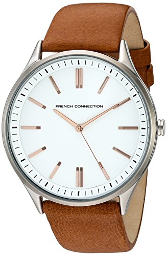 French Connection Men's 'Harris' Quartz Stainless Steel and Leather Watch, Color:Brown (Model: FC1244C)