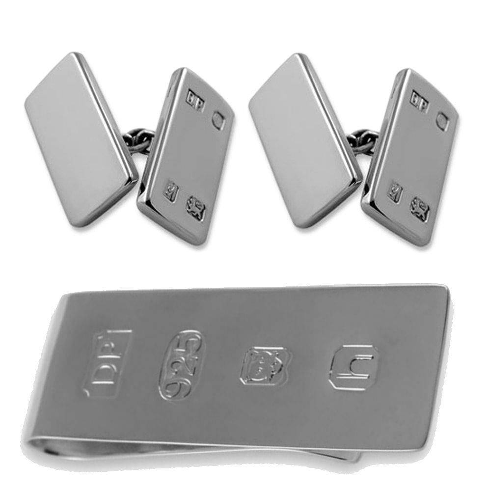 純銀製の機能特徴両面 カフスボタン ジェームズボンドのお金クリップボックスセット B074S1DN3G