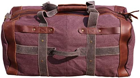 Iblue Overnight Travel Bag Leather Weekend Vintage Canvas Mens Large