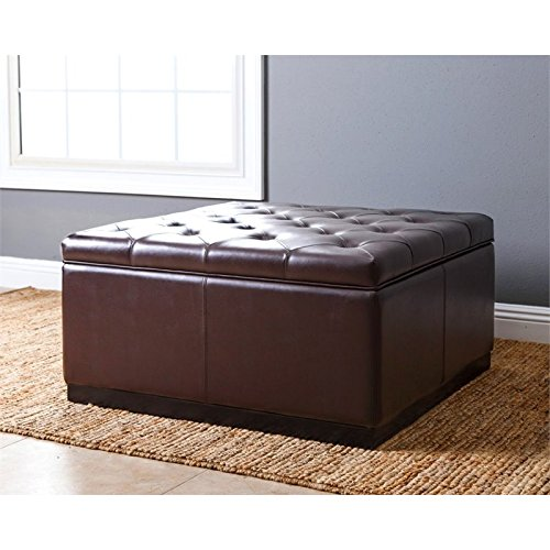 Stupendous Brown Leather Ottomans Storage Coffee Table Etc Bralicious Painted Fabric Chair Ideas Braliciousco