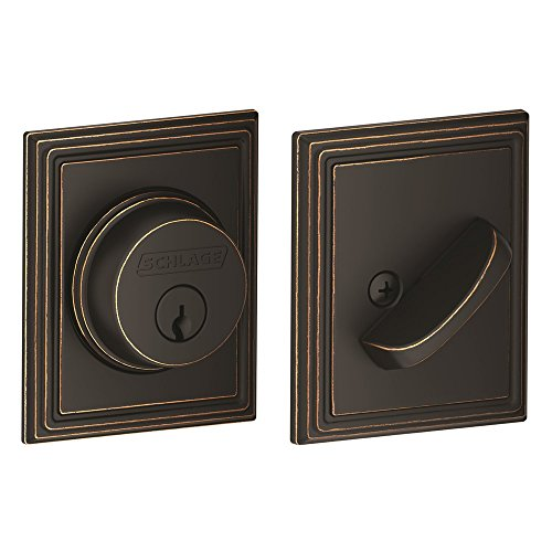 Schlage Lock Company Single Cylinder Deadbolt with Addison Trim, Aged Bronze (B60 N ADD 716)