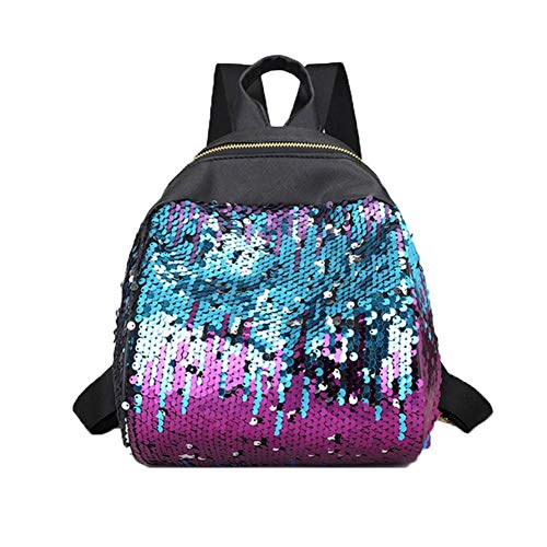 Outsta Fashion Shiny Sequins School Bags,Women Girl Backpack Travel Rucksack Shoulder Bag Purse Waterproof Classic Casual Daypack Multicolor (Purple)