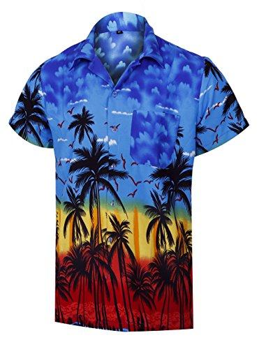 Virgin Crafts Hawaiian Shirts for Men Casual Button Down Short Selvee Party Blue Alloha ()