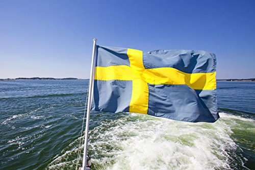 Sweden, Stockholm Archipelago - Swedish Flag on a Ferry 30x40 photo reprint by PickYourImage