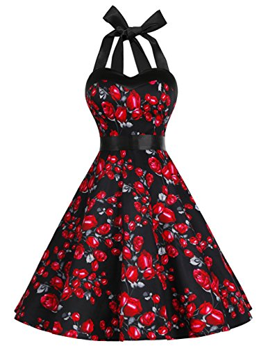 DRESSTELLS 50s Retro Halter Rockabilly Polka Dots Audrey Dress Cocktail Dress Black Rose XL