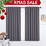 NICETOWN Rod Pocket Curtains/Drapes - Set of Two (2) Thermal Insulated Light Reducing Back Tab Blackout Curtain Panels/Draperies For Bedroom (52 Inch x 63 Inch Grey)