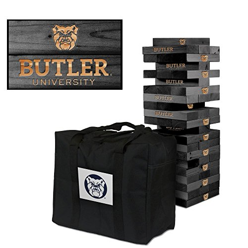 NCAA Butler Bulldogs 937072Butler University Bulldogs Onyx Stained Giant Wooden Tumble Tower Game, Multicolor, One Size by Victory Tailgate