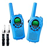 OuterStar Durable Walkie Talkies for Kids,22 Channel FRS/GMRS 5 Miles Long Range Two Way Radios with 2 Free Straps Back-lit LCD Screen/Handheld for Kids/Families Toys, Games, Gifts,(Blue)
