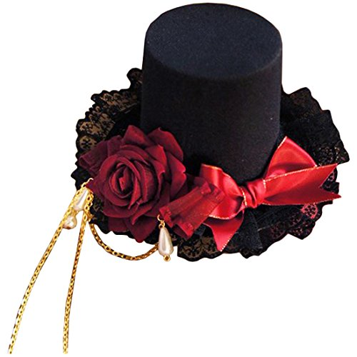 Partiss Womens Gothic Lolita Red Roses Hat Lace Headwear Hair Bands accessories,Onesize,As (School Western Band Costumes Pictures)