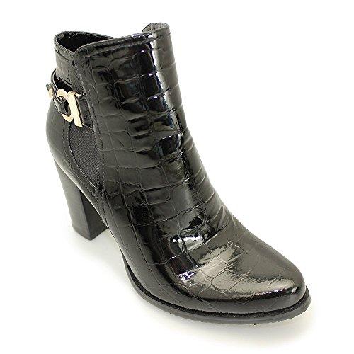 Lunar Liberty glc453Nero Brevetto Croc Ladies Ankle Boot