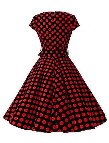 Pois 60's Mancheron Classique 'Audrey Robe Hepburn' Style Dressystar Noir 50's B Rouge Vintage avOYq