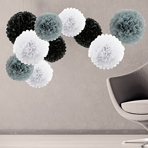 Tissue Paper Pom Poms Flower Party Decorations Set of 10 White Gray Black Pack 10