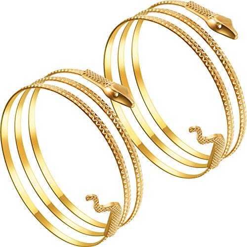2 Pack Metal Snake Armband Swirl Snake Spiral Upper Arm Cuff Armlet Bangle Bracelet Egyptian Costume Accessory for Women