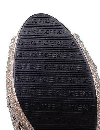LFNLYX Zapatos de mujer-Tacón Robusto-Tacones-Sandalias-Boda / Vestido / Casual / Fiesta y Noche-Materiales Personalizados-Negro / Plata / Oro golden