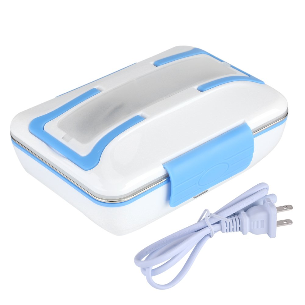 Electric Heating Lunch Box, Portable Bento Meal Heater Food Warmer Stainless Steel Food Container Home Office Use(Blue)