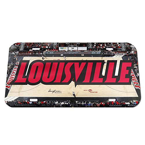 NCAA Louisville Cardinals Basketball Court Crystal Mirror License Plate, 6 x 12-Inch