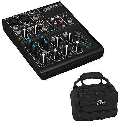 Mobile Dj Club Mixer - Mackie 402VLZ4 4-Channel Ultra-Compact Mixer with G-MIXERBAG-0608 Padded Nylon Mixer/Equipment Bag Kit