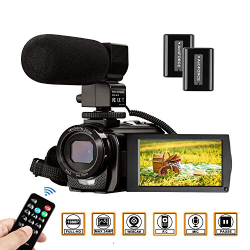 - Video Camera Camcorder FHD 1080P 30FPS 24MP YouTube Camera with Microphone 3.0 Inch 270 Degree Rotation 16X Zoom Remote Control Vlogging Digital Video Camera with 2 Batteries