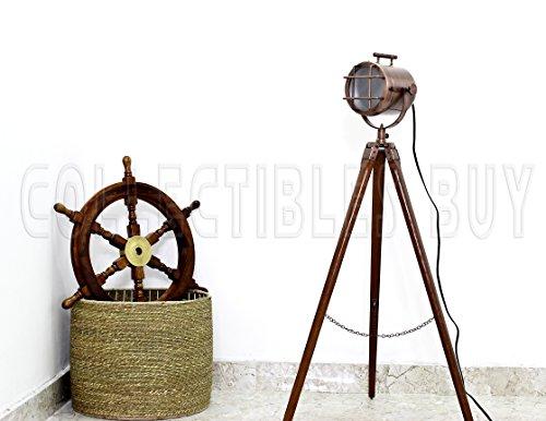 (Vintage Marine Copper Floor Lamp Nautical Searchlight Wooden Tripod Royal Corner Lamp Studio Lights )