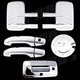A-PADS Chrome Covers Combo Set For Chevy SILVERADO 2500HD/3500HD 2014 - 2 Towing Mirrors + 2 Door Handles WITHOUT Passenger Keyhole + 1 Gas Door + 1 Tailgate WITH Keyhole/Camera Hole