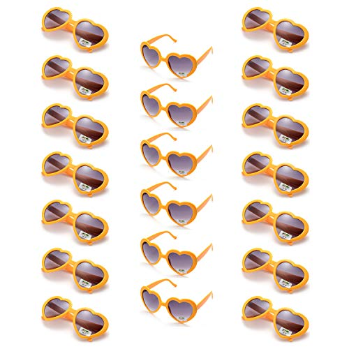 Onnea 20 Pieces Per Case Wholesale Heart Shaped Neon Color Sunglasses for Party Supplies,100% UV Protection (20-Pack Yellow) ()