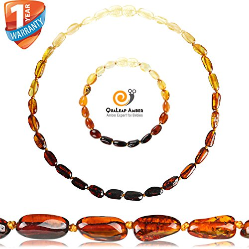 Rainbow Amber Teething Necklace + Amber Teething Bracelet Set (Necklace Extender) for Baby, 100% Quality Baltic Amber for Baby Teething Relief (Unisex - Rainbow - 12.5 Inches / 5.5 Inches)