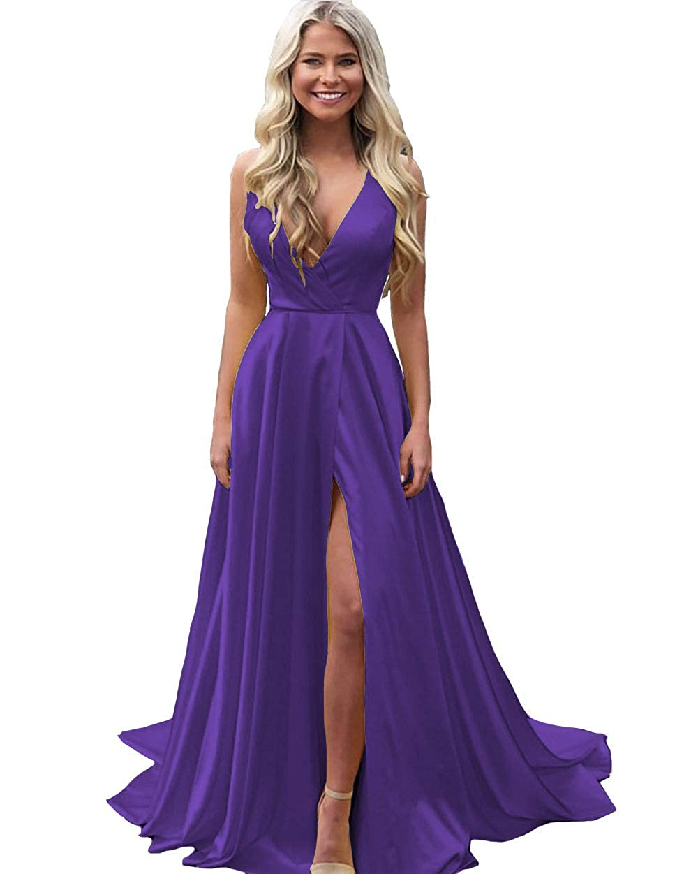 Purple IVYPRECIOUS Women's V Neck Sexy Prom Dresses A Line Side Split Long Formal Evening Gowns