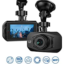 """Car Dash Cam - Full HD 1080P 170° Wide Angle Dashboard Camera Recorder with WDR, Built-in WiFi, G-Sensor, Sony Sensor HD Night Vision 2.7""""LCD Parking Monitor"""