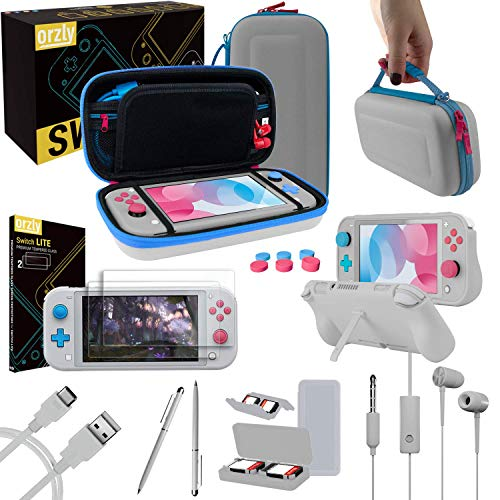 Orzly Switch Lite Accessories Bundle - Case & Screen Protector for Nintendo Switch Lite Console, USB Cable, Games Holder, Grip Case, Headphones, Thumb-Grip Pack & More (Gift Pack - Z&Z Edition) from Orzly