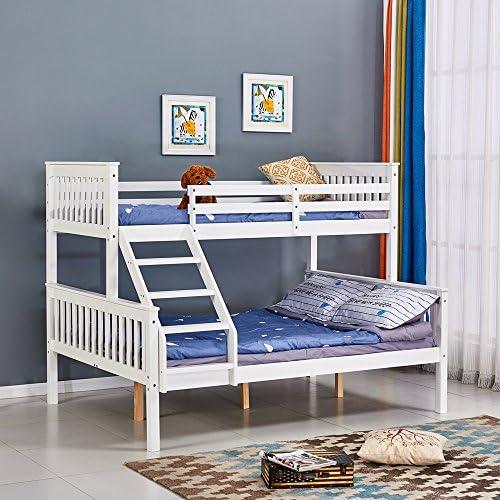 Willstone Triple Cama litera Cama Marco de Madera Blanco 3 ft + 4 ft6 Cama de tamaño Queen Cama en Madera Maciza de Pino para hogar Dormitorio Adultos y niños: Amazon.es: Hogar