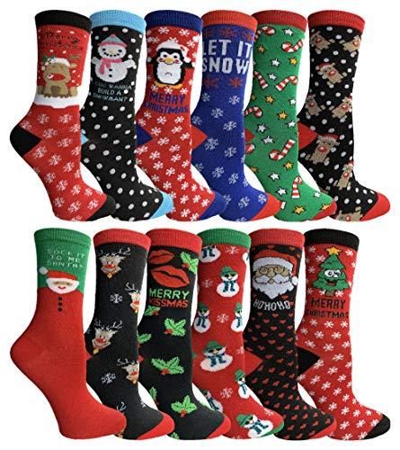 Yacht & Smith Christmas Printed, Fun Colorful Festive, Crew, Knee High, Fuzzy, Or Slipper Socks, by SOCKS'NBULK