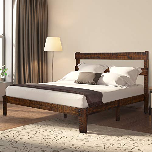 - Ecos Living 12 Inch High Rustic Solid Wood Platform Bed Frame with Headboard/No Box Spring/No Squeak, Distressed Finish (Brown, Queen)