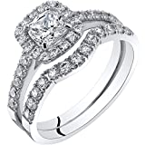 14K White Gold Cushion Cut Engagament Ring and Wedding Band Bridal Set Size 9