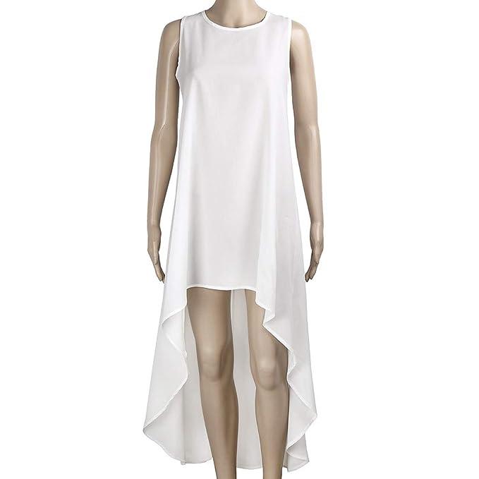 32b2b6e84 Qingsiy Túnica Vestido Larga De Verano Casual Color Sólido para Mujer Fiesta  Suelto Vestidos Sin Manga Diseño De Dobladillo Irregulares Casual Vestido  ...