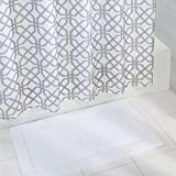 mDesign Bathroom Accessory Set, Fretwork Fabric Shower Curtain, Spa Bath Mat/Rug - Set of 2, Stone Gray/White
