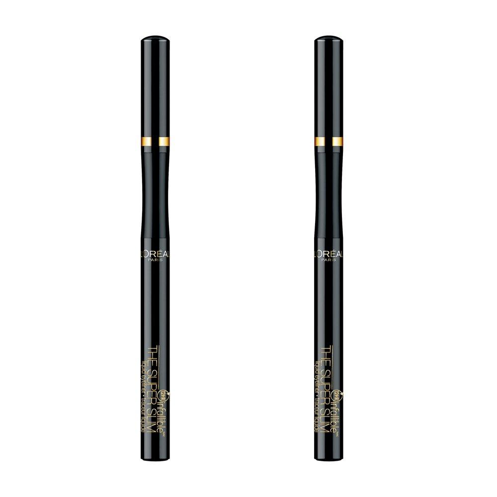 L'Oreal Paris Makeup Infallible Super Slim Long-Lasting Liquid Eyeliner, Ultra-Fine Felt Tip, Quick Drying Formula, Glides on Smoothly, Black, Pack of 2