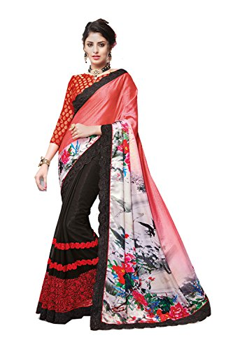Dessa Collections Indian Sarees For Women Wedding Red & Black Designer Party Wear Traditional Sari by Dessa Collections