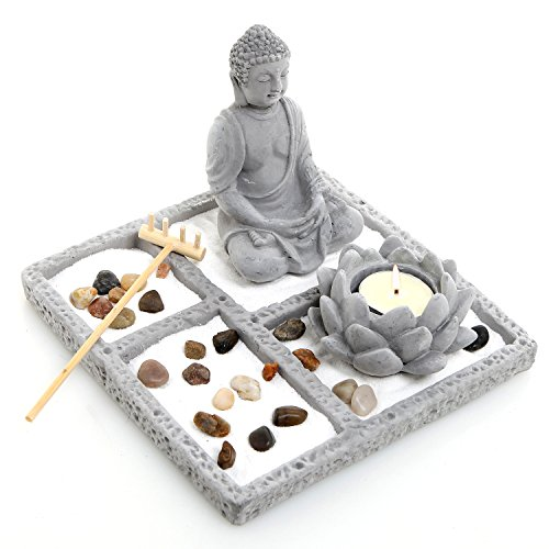 Deluxe Gray Cement Rustic Zen Buddha Statue Garden Set with Lotus Tealight Candleholder, Sand, Rock & Rake